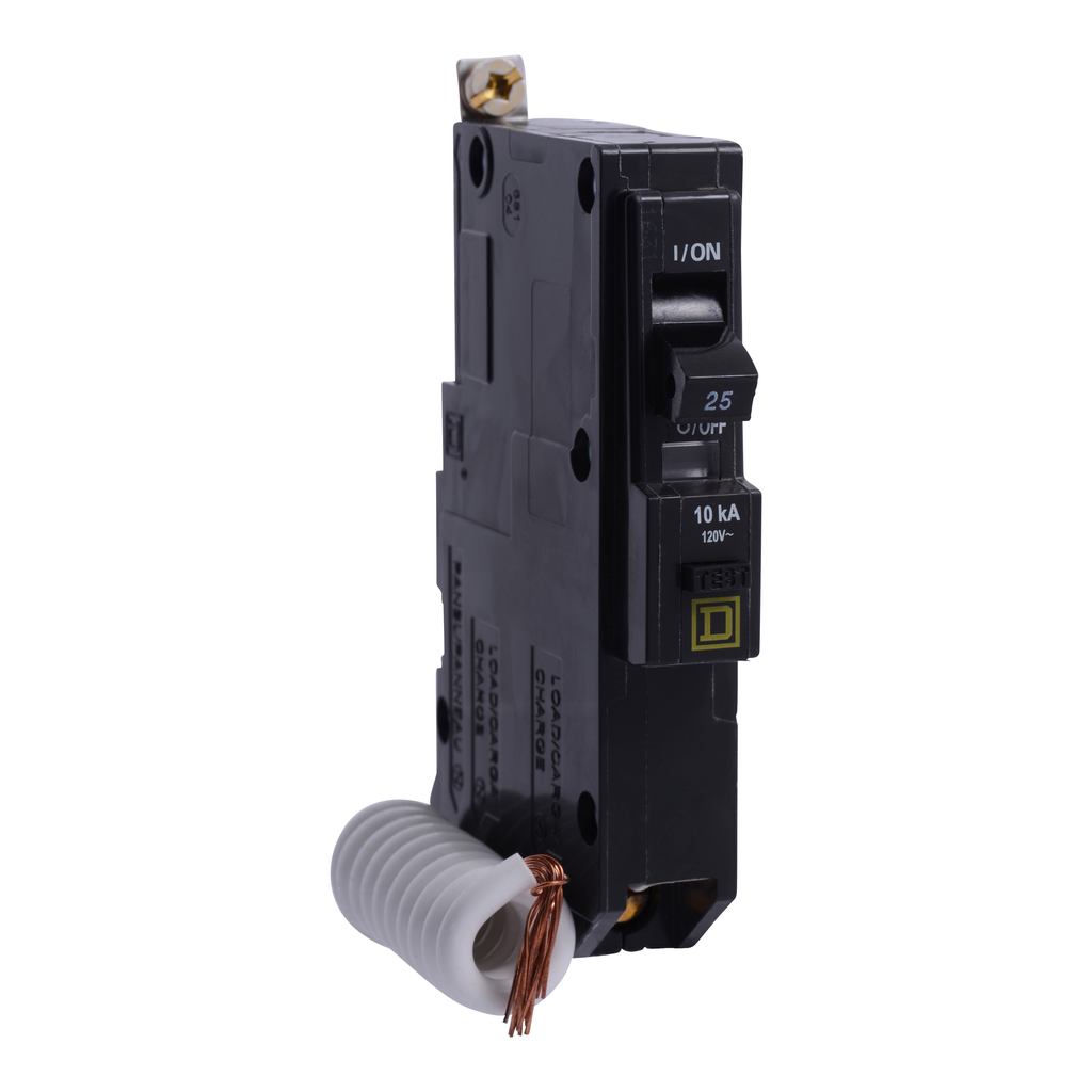 Mayer-Mini circuit breaker, QO, 25A, 1 pole, 120 VAC, 10 kA, 30mA grd fault B, bolt on mount-1