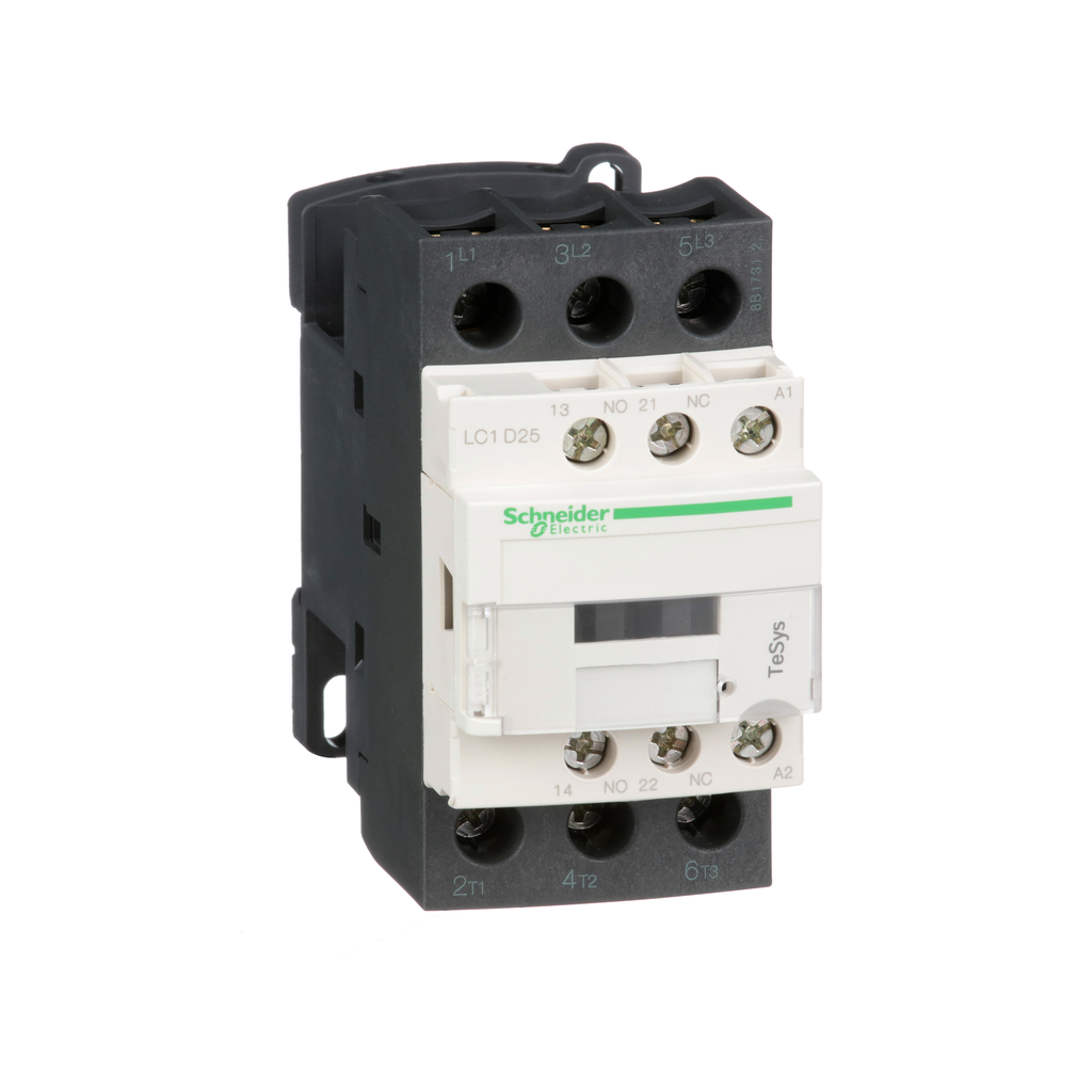 Mayer-IEC contactor, TeSys D, nonreversing, 25A, 15HP at 480VAC, up to 100kA SCCR, 3 phase, 3 NO, 24VAC 50/60Hz coil, open-1