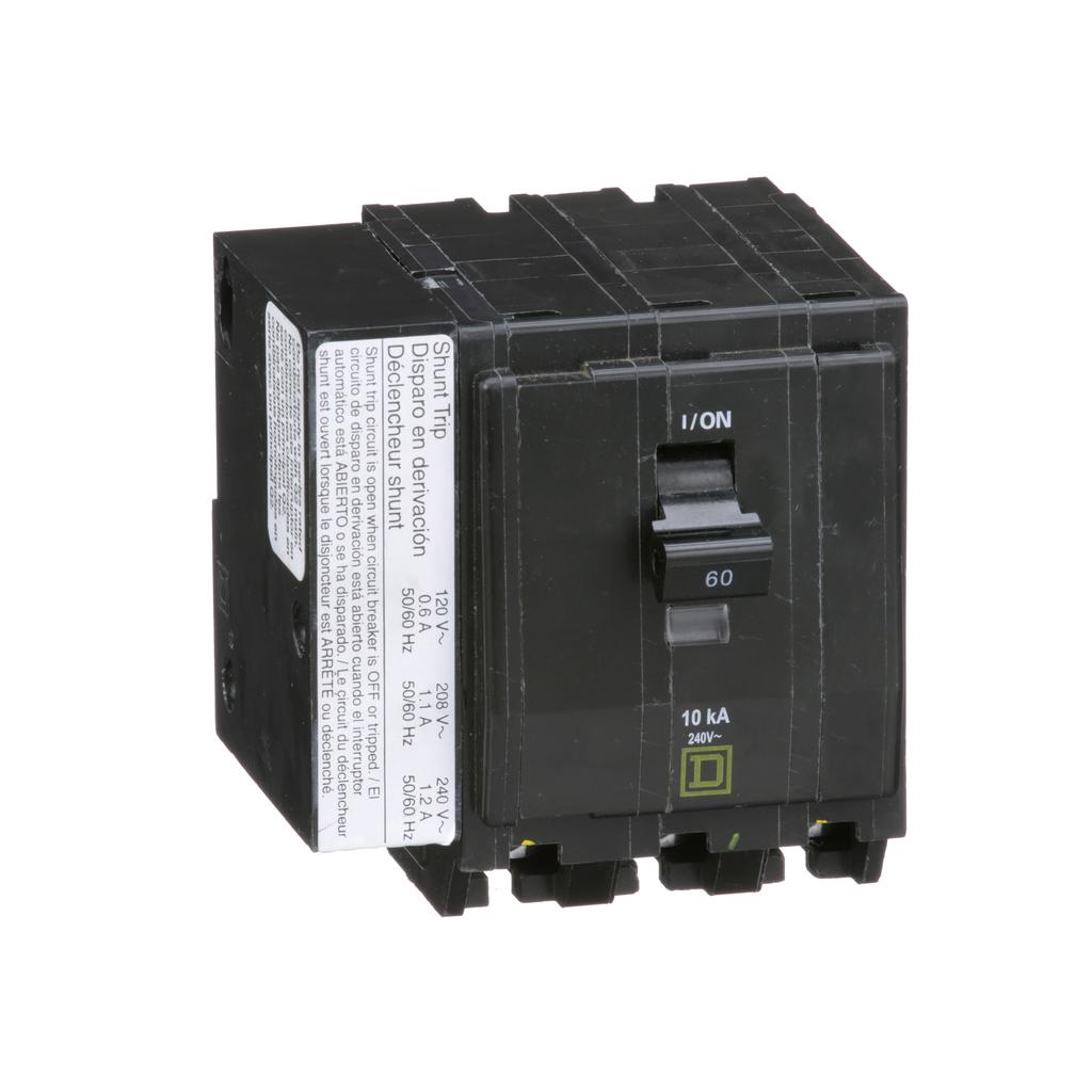 Mayer-Mini circuit breaker, QO, 60A, 3 pole, 120/240 VAC, 10 kA, plug in mount, AC shunt trip-1