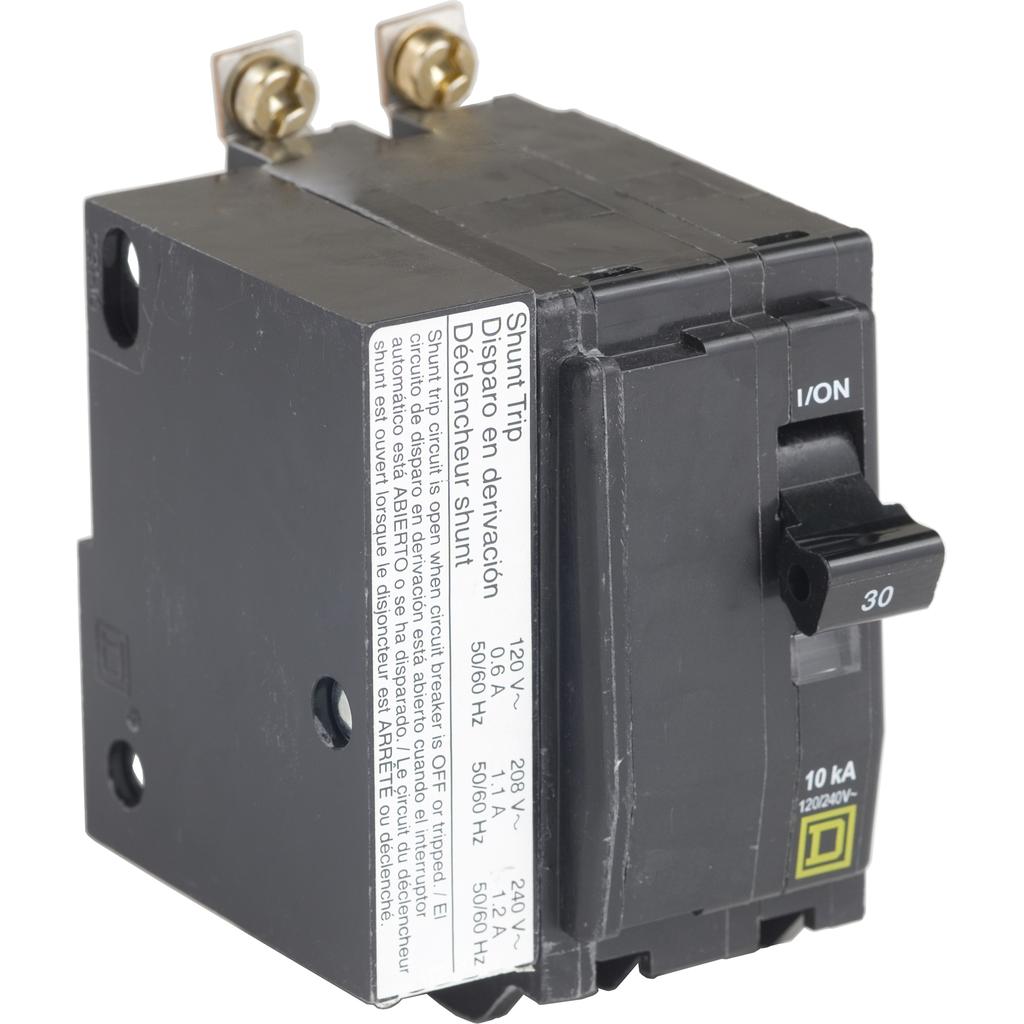 Mayer-Mini circuit breaker, QO, 30A, 2 pole, 120/240 VAC, 22 kA, bolt on mount, AC shunt trip-1