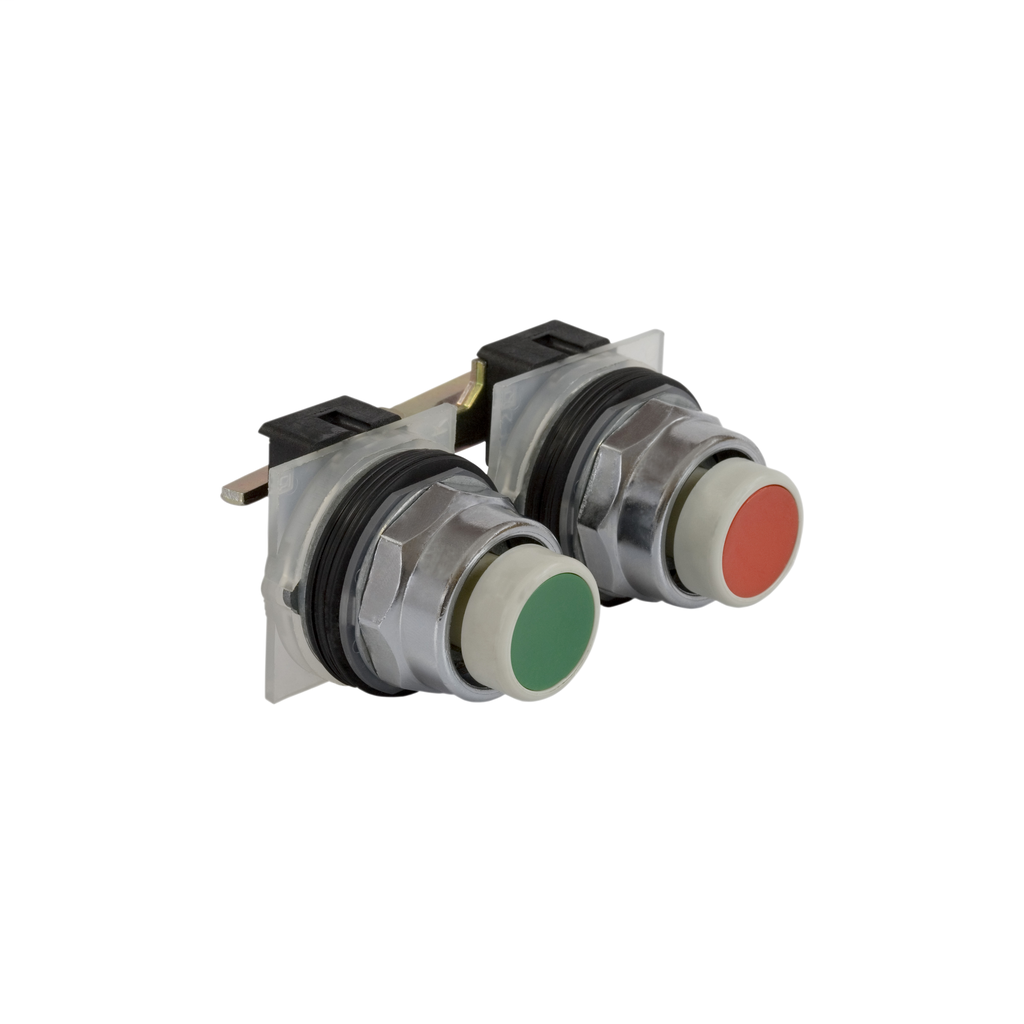 Mayer-green-red pushbutton Ø 30 - mechanically interlocked maintained - w/o contact-1