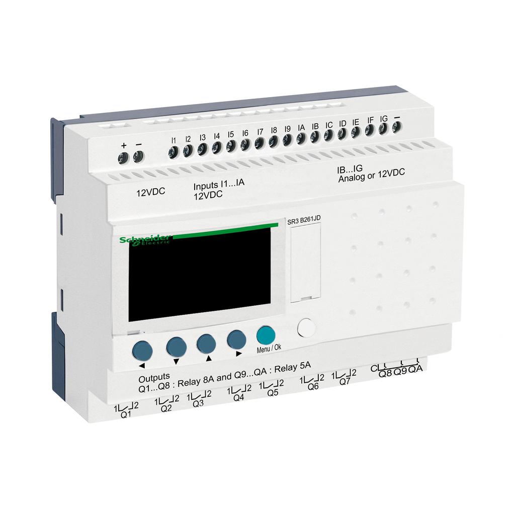 Mayer-Modular smart relay, Zelio Logic, 26 I/O, 12 V DC, clock, display-1