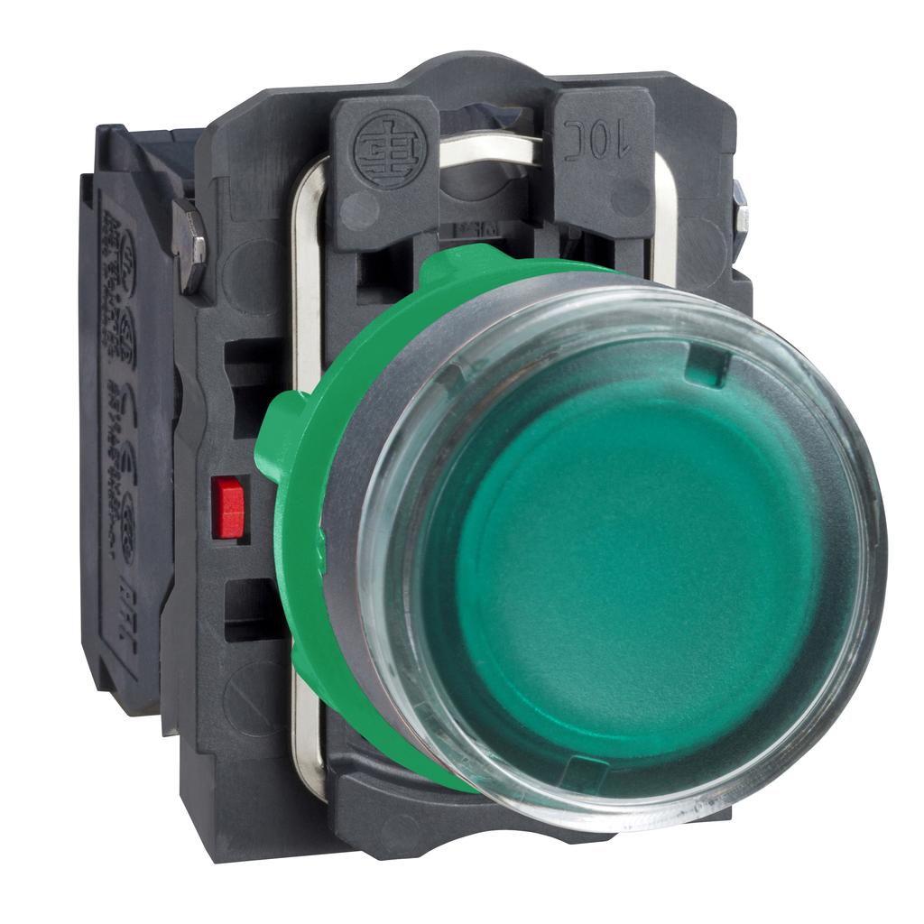 Mayer-Harmony XB5, Illuminated push button, plastic, flush, green, Ø22, spring return, 24 V AC/DC, 1 NO + 1 NC-1