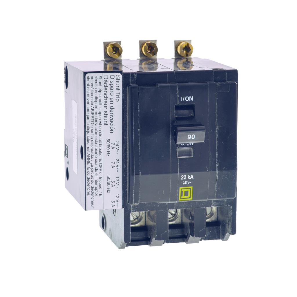 Mayer-Mini circuit breaker, QO, 30A, 3 pole, 120/240 VAC, 10 kA, bolt on mount, AC/DC shunt trip-1