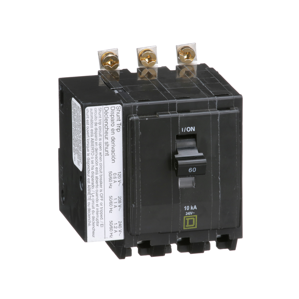 Mayer-Mini circuit breaker, QO, 60A, 3 pole, 120/240 VAC, 10 kA, bolt on mount, AC shunt trip-1