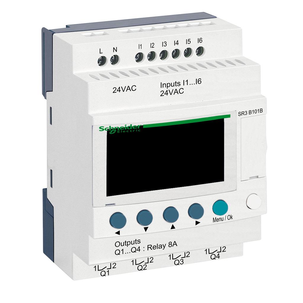 Mayer-Modular smart relay, Zelio Logic, 10 I/O, 24 V AC, clock, display-1