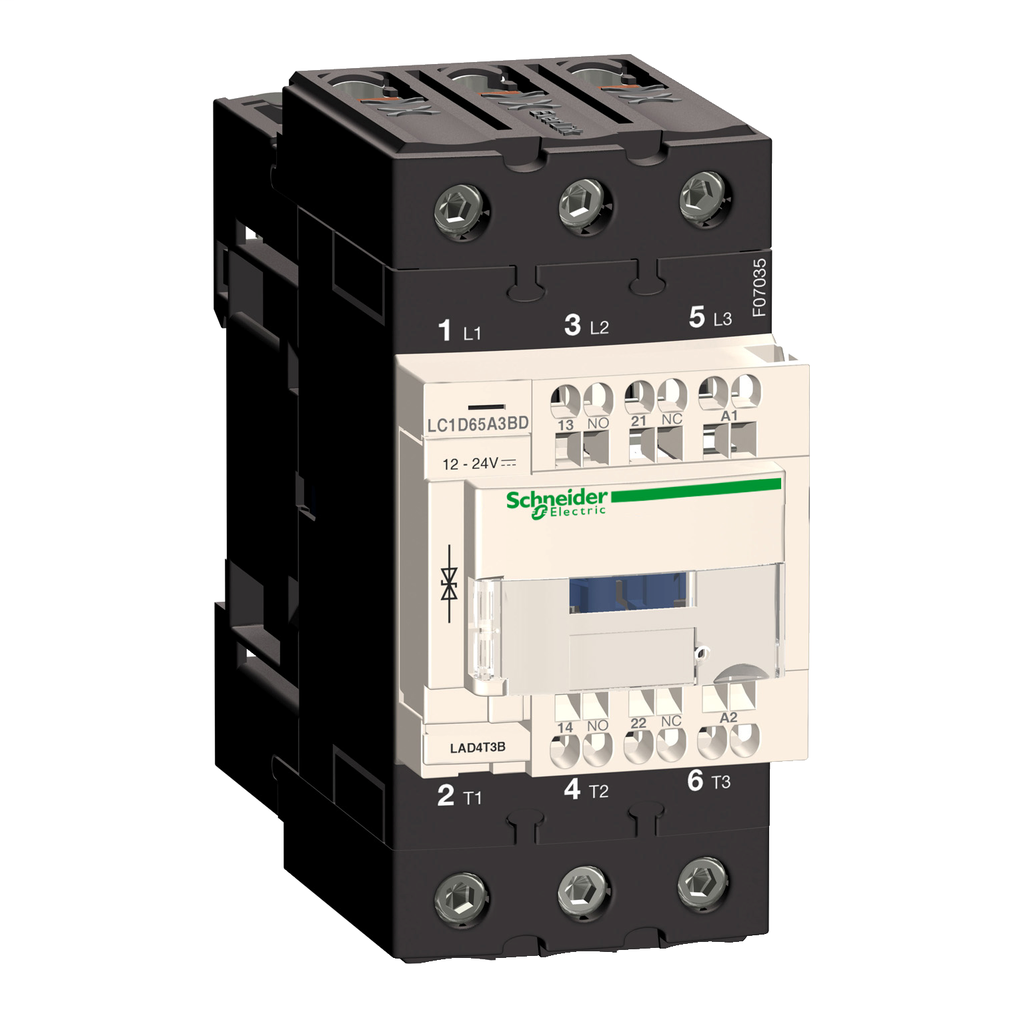 Mayer-IEC contactor, TeSys D, nonreversing, 65A, 40HP at 480VAC, 3 phase, 3 pole, 3 NO, 24VDC coil, open style-1
