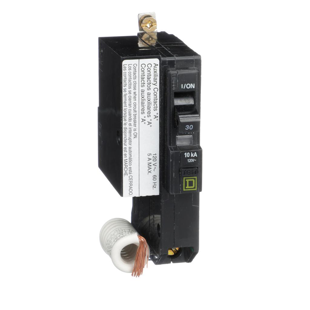 Mayer-Mini circuit breaker, QO, 30A, 1 pole, 120 VAC, 10 kA, 30mA grd fault B, bolt on mount, aux switch 1A-1