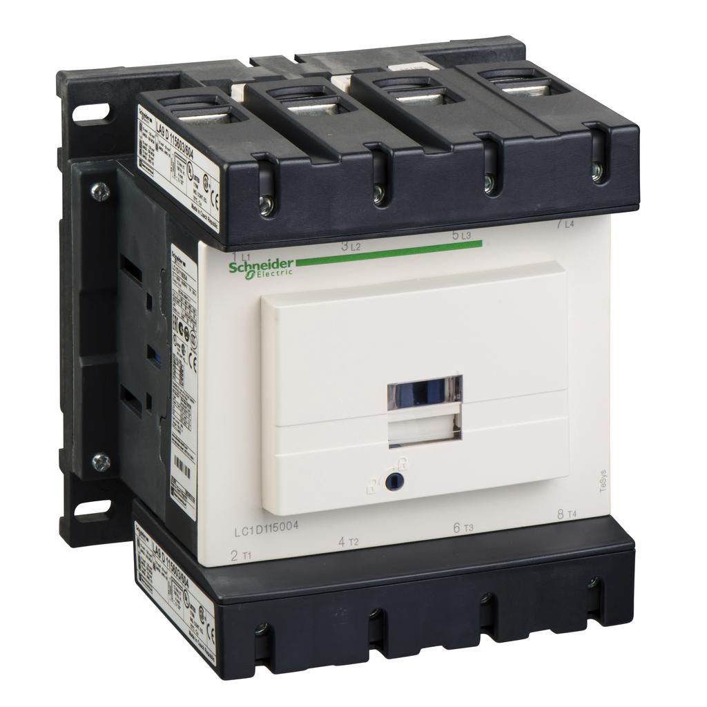 Mayer-IEC contactor, TeSys D, nonreversing, 200A resistive, 4 pole, 4 NO, 120VAC 60Hz coil, open style-1