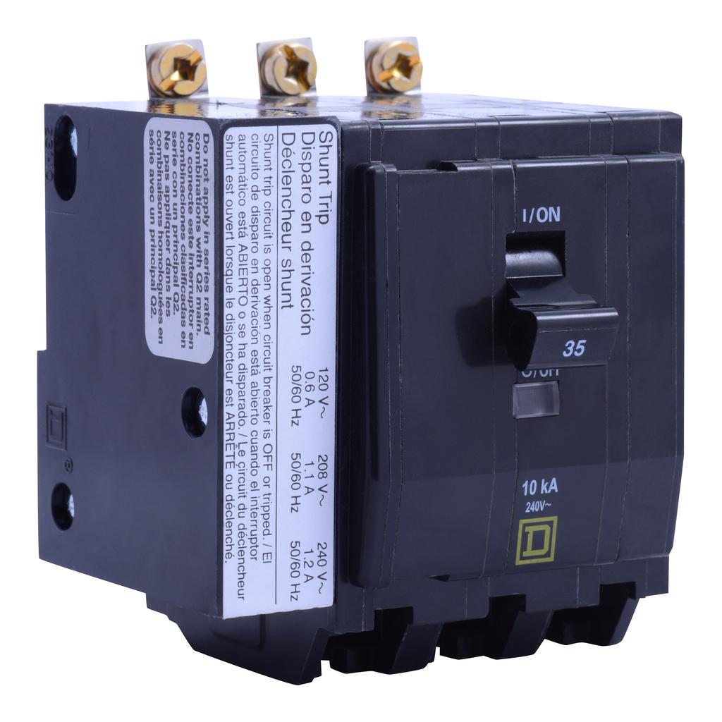 Mayer-Mini circuit breaker, QO, 45A, 3 pole, 120/240 VAC, 10 kA, bolt on mount, AC shunt trip-1