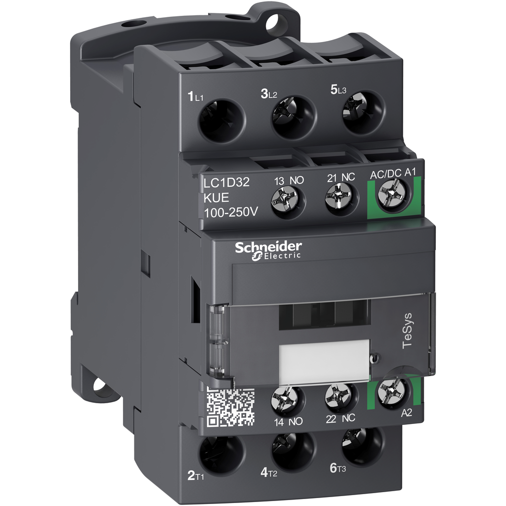Mayer-IEC contactor, TeSys D, nonreversing, 32A, 20HP at 480VAC, up to 100kA SCCR, 3 phase, 3 NO, 100/250VAC/VDC coil, open-1