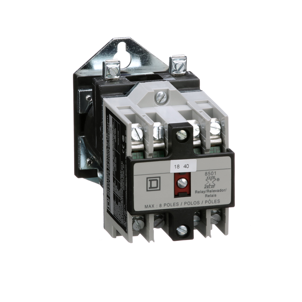 Mayer-NEMA Control Relay, Type X, machine tool, 10A resistive at 600 VAC, 4 normally open contacts, 48 VDC coil-1