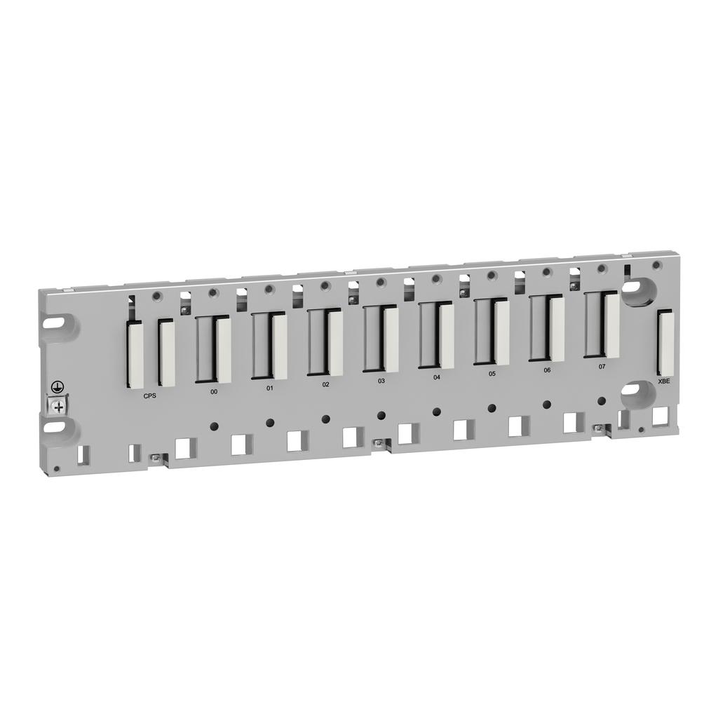 Mayer-Modicon M340 automation platform, rack 8 slots, panel, plate or DIN rail mounting-1