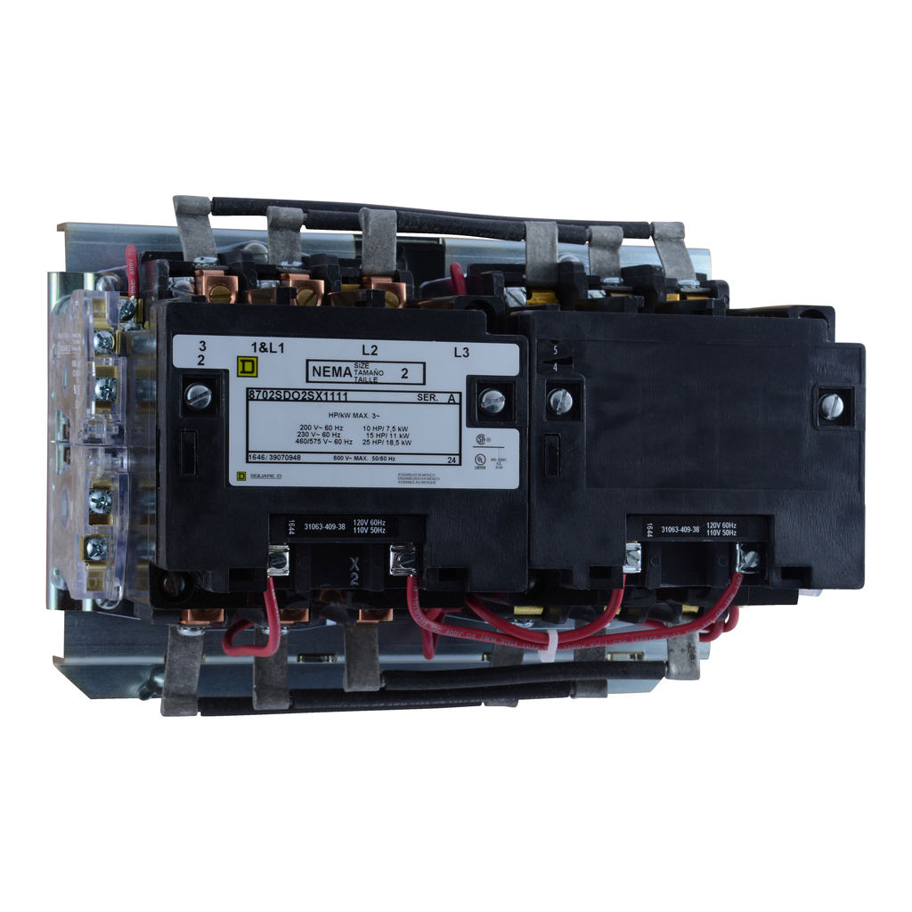 Mayer-NEMA Contactor, Type S, reversing, horizontal, Size 2, 45A, 25 HP at 575 VAC, 3 phase, up to 100 kA, 3 pole, 120 VAC coil, open style-1