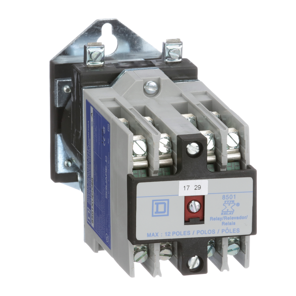 Mayer-NEMA Control Relay, Type X, utility, 10A resistive at 600 VAC, 8 normally open contacts, 125 VDC coil-1