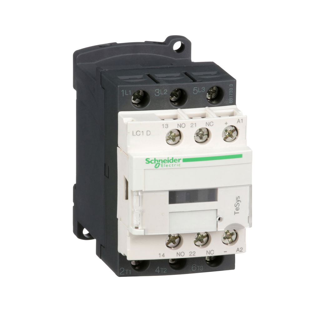 Mayer-IEC contactor, TeSys D, nonreversing, 18A, 10HP at 480VAC, up to 100kA SCCR, 3 phase, 3 NO, 125VDC coil, open-1