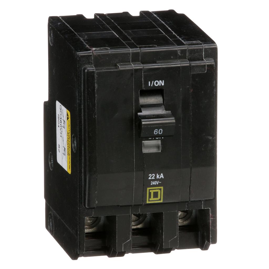 Mayer-Mini circuit breaker, QO, 60A, 3 pole, 120/240 VAC, 22 kA, plug in mount-1