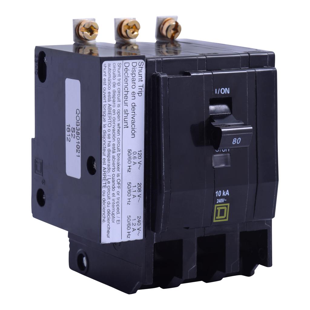 Mayer-Mini circuit breaker, QO, 80A, 3 pole, 120/240 VAC, 22 kA, bolt on mount, AC shunt trip-1