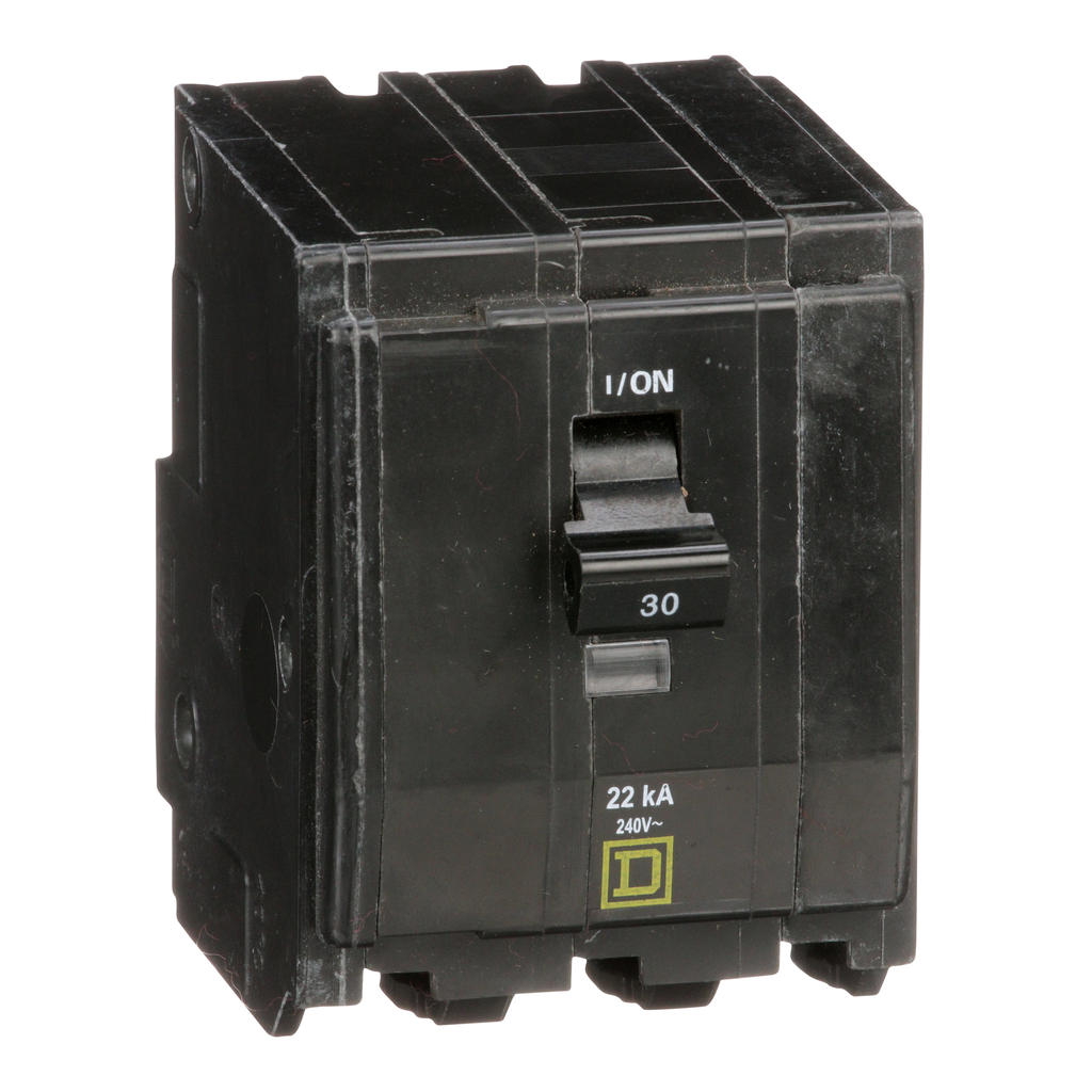 Mayer-Mini circuit breaker, QO, 30A, 3 pole, 120/240 VAC, 22 kA, plug in mount-1