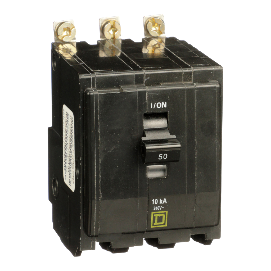 Mayer-Mini circuit breaker, QO, 50A, 3 pole, 120/240 VAC, 10 kA, bolt on mount, ring terminals-1