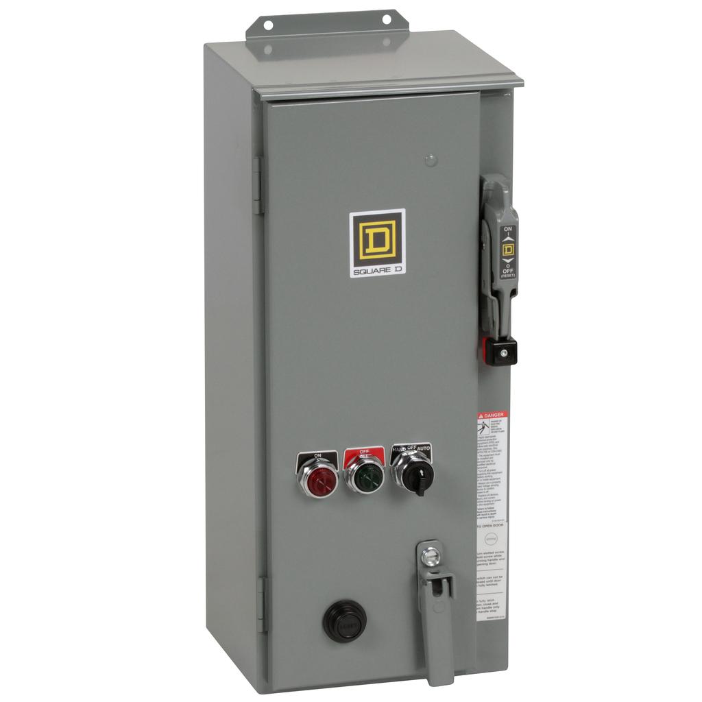 Mayer-NEMA Combination Starter, Type S, HHL electronic motor circuit protector, Size 1, 27A, 3 phase, 120 VAC coil, NEMA 12-1