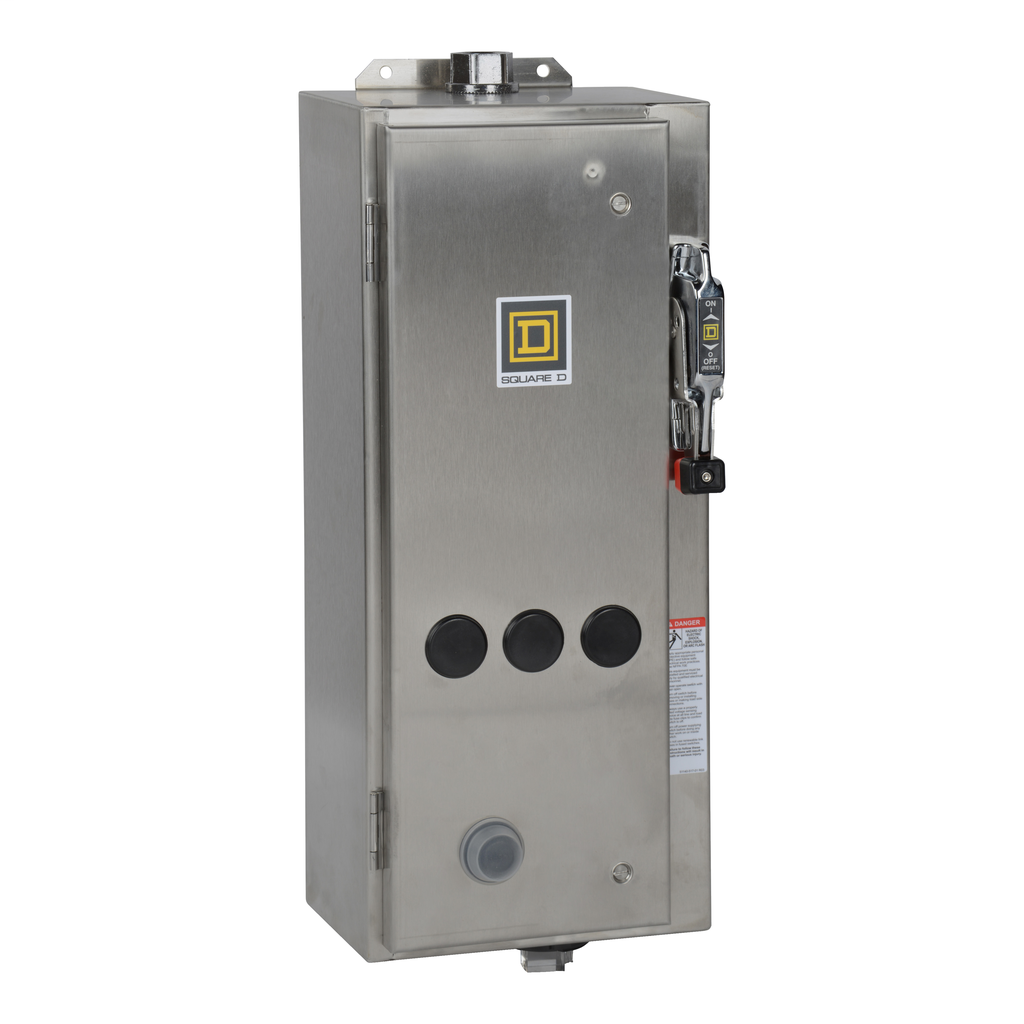 Mayer-NEMA Combination Starter, Type S, 15A HHL thermal magnetic circuit breaker, Size 0, 18A, 3 phase, 120 VAC coil, NEMA 4X-1