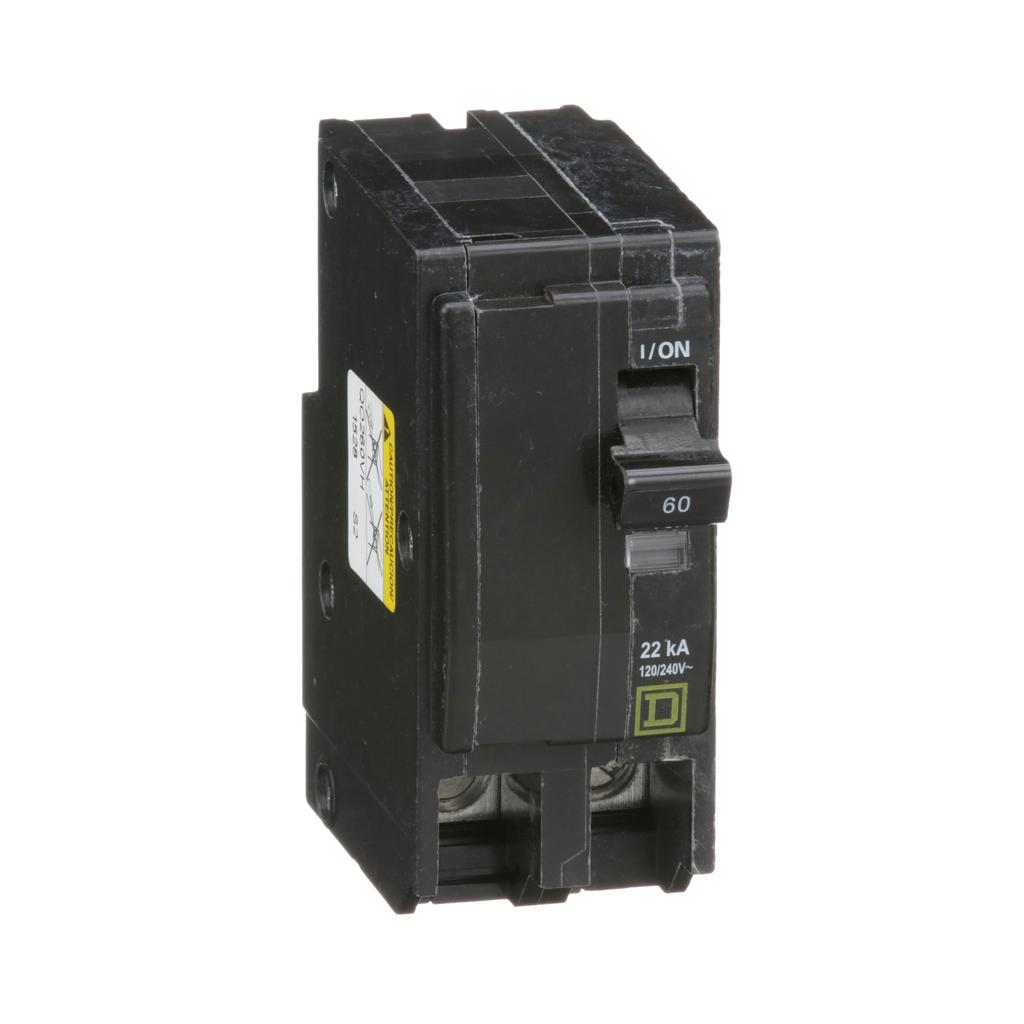 Mayer-Mini circuit breaker, QO, 60A, 2 pole, 120/240 VAC, 22 kA, plug in mount-1