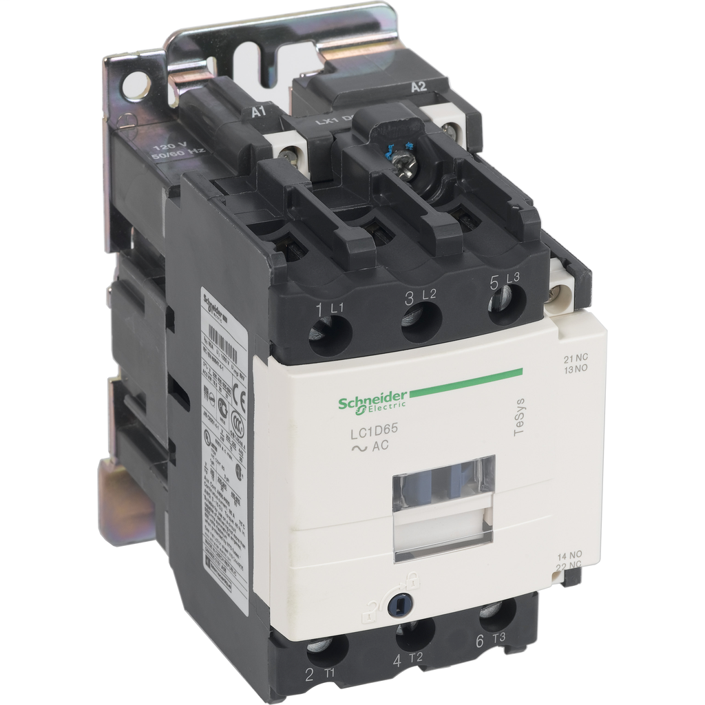Mayer-IEC contactor, TeSys D, nonreversing, 65A, 40HP at 480VAC, up to 100kA SCCR, 3 phase, 3 NO, 220VAC 50/60Hz coil, open-1