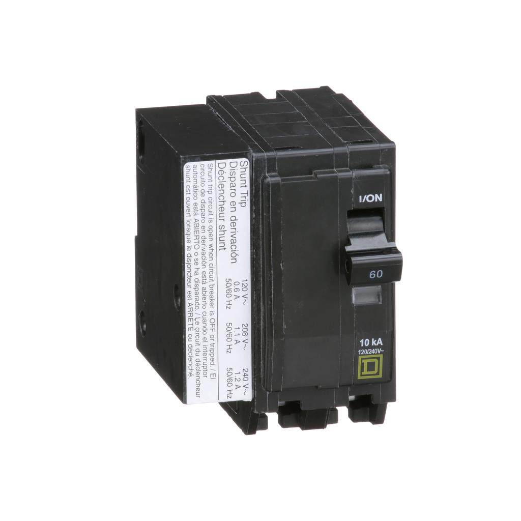 Mayer-Mini circuit breaker, QO, 60A, 2 pole, 120/240 VAC, 10 kA, plug in mount, AC shunt trip-1
