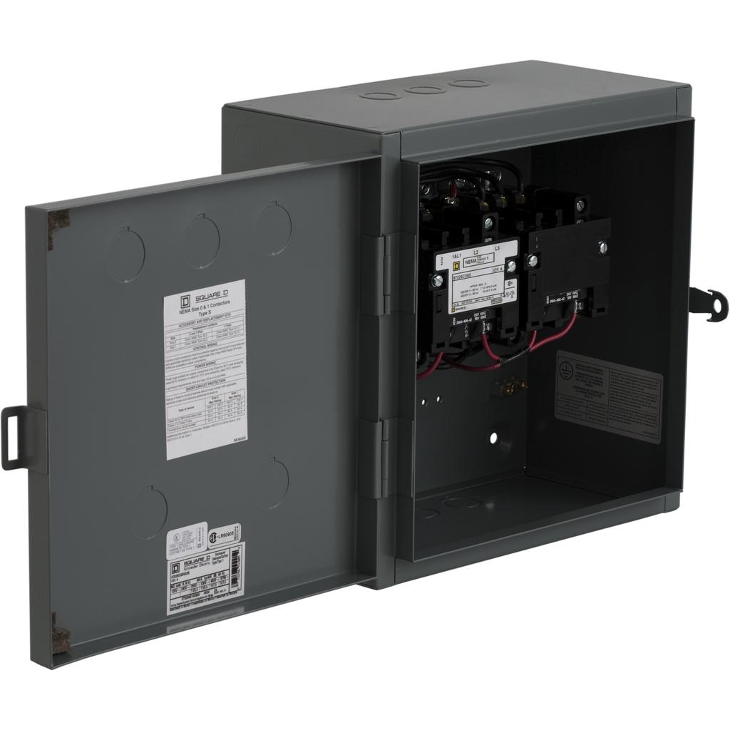 Mayer-NEMA Contactor, Type S, reversing, Size 1, 27A, 3 pole, 3 phase, horizontal, 110/120 VAC 50/60 Hz coil, NEMA 1-1