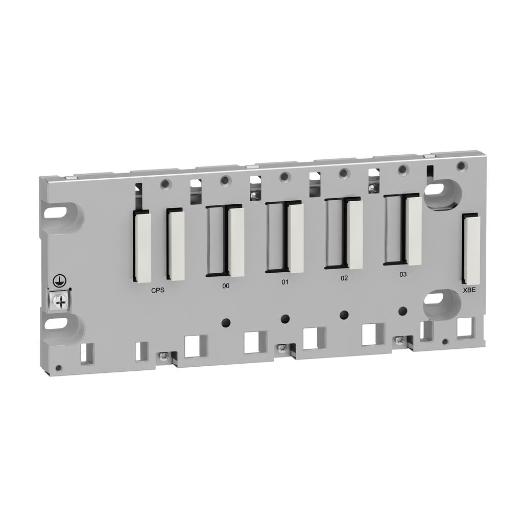 Mayer-Modicon M340 automation platform, ruggedized rack 4 slots, panel, plate or DIN rail mounting-1