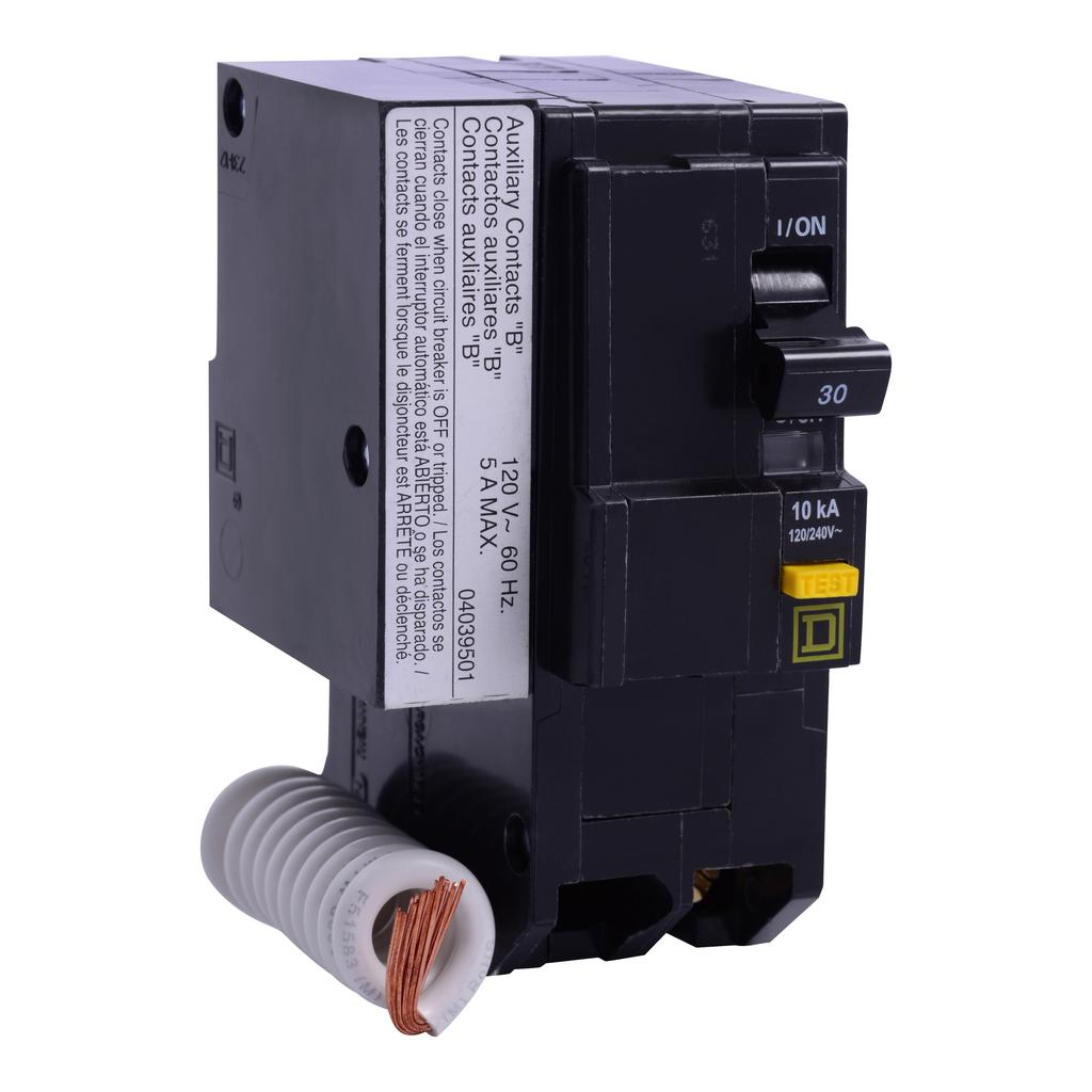 Mayer-Mini circuit breaker, QO, 30A, 2 pole, 120/240 VAC, 10 kA, 6mA grd fault A, pigtail, plug in mount, aux switch 1B-1