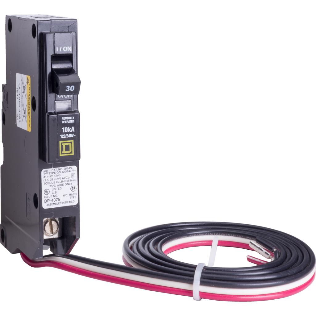 Mayer-Mini circuit breaker, QO, 30A, 1 pole, 120/240 VAC, 10 kA, Powerlink, plug in mount, 60 in leads-1