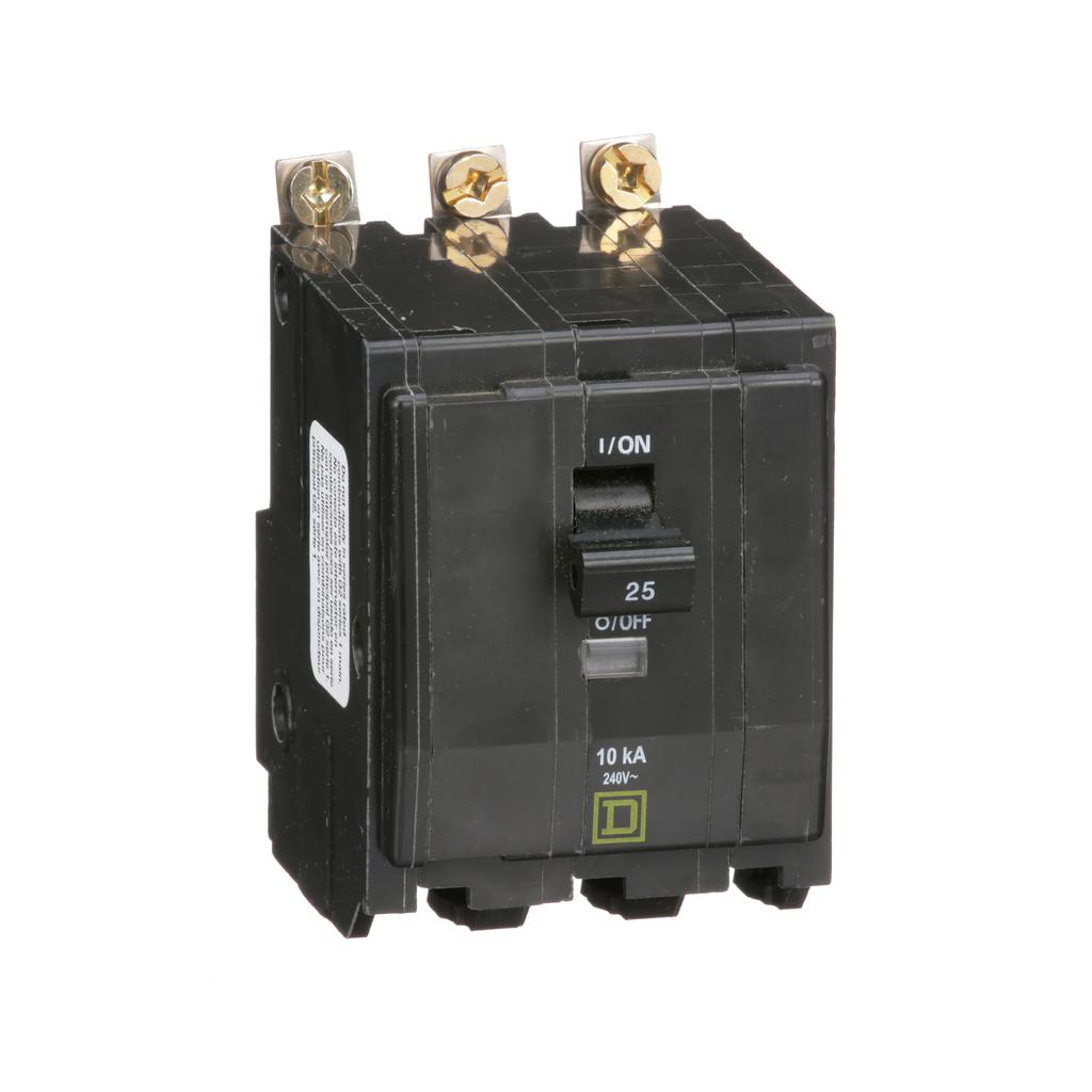 Mayer-Mini circuit breaker, QO, 25A, 3 pole, 120/240 VAC, 10 kA, bolt on mount-1