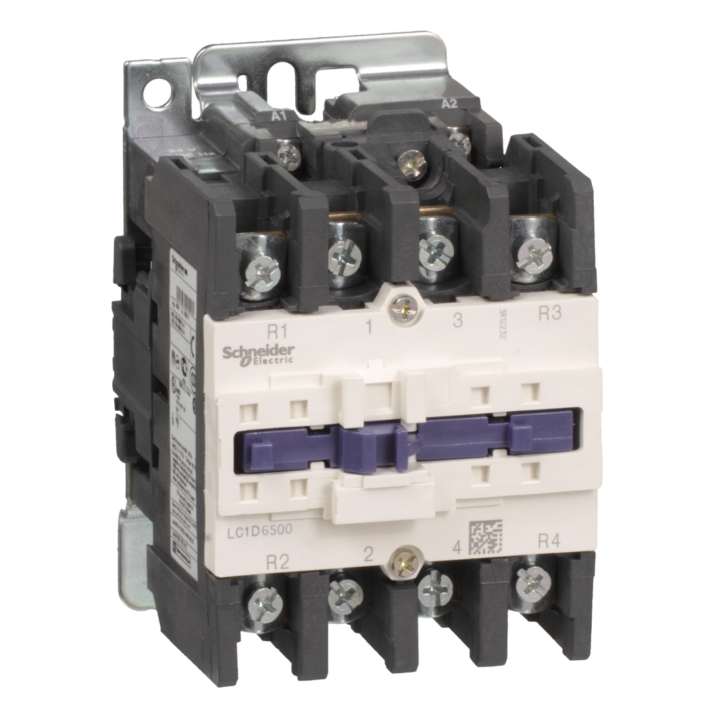 Mayer-IEC contactor, TeSys D, nonreversing, 80A resistive, 4 pole, 2 NO and 2 NC, 220VAC 50/60Hz coil, open style-1