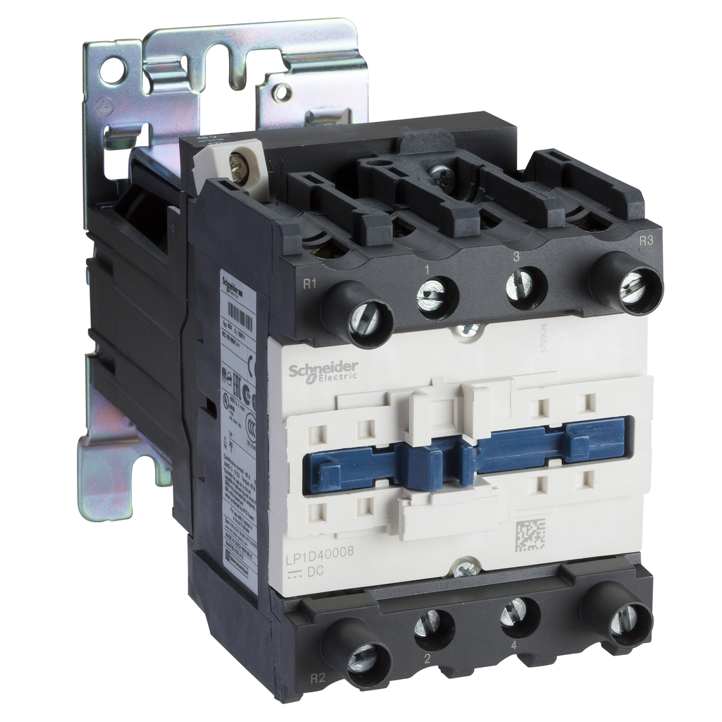 Mayer-IEC contactor, TeSys D, nonreversing, 60A resistive, 4 pole, 2 NO and 2 NC, 24VDC coil, open style-1