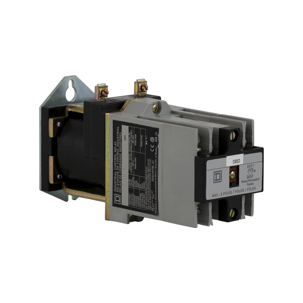 Mayer-NEMA Control Relay, Type X, latching, 10A resistive at 600 VAC, 8 normally open contacts, 115/125 VDC coil-1