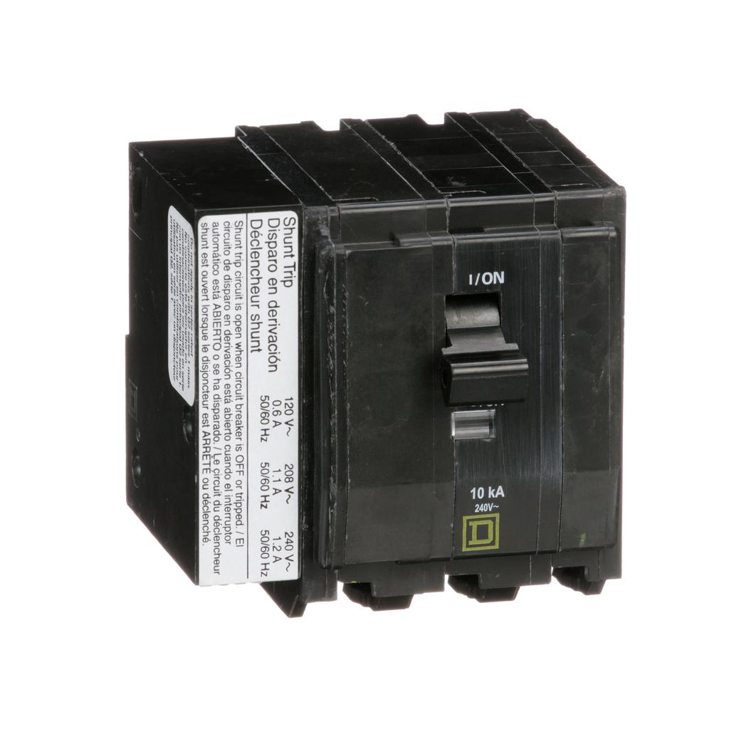 Mayer-Mini circuit breaker, QO, 20A, 3 pole, 120/240 VAC, 10 kA, plug in mount, AC shunt trip-1