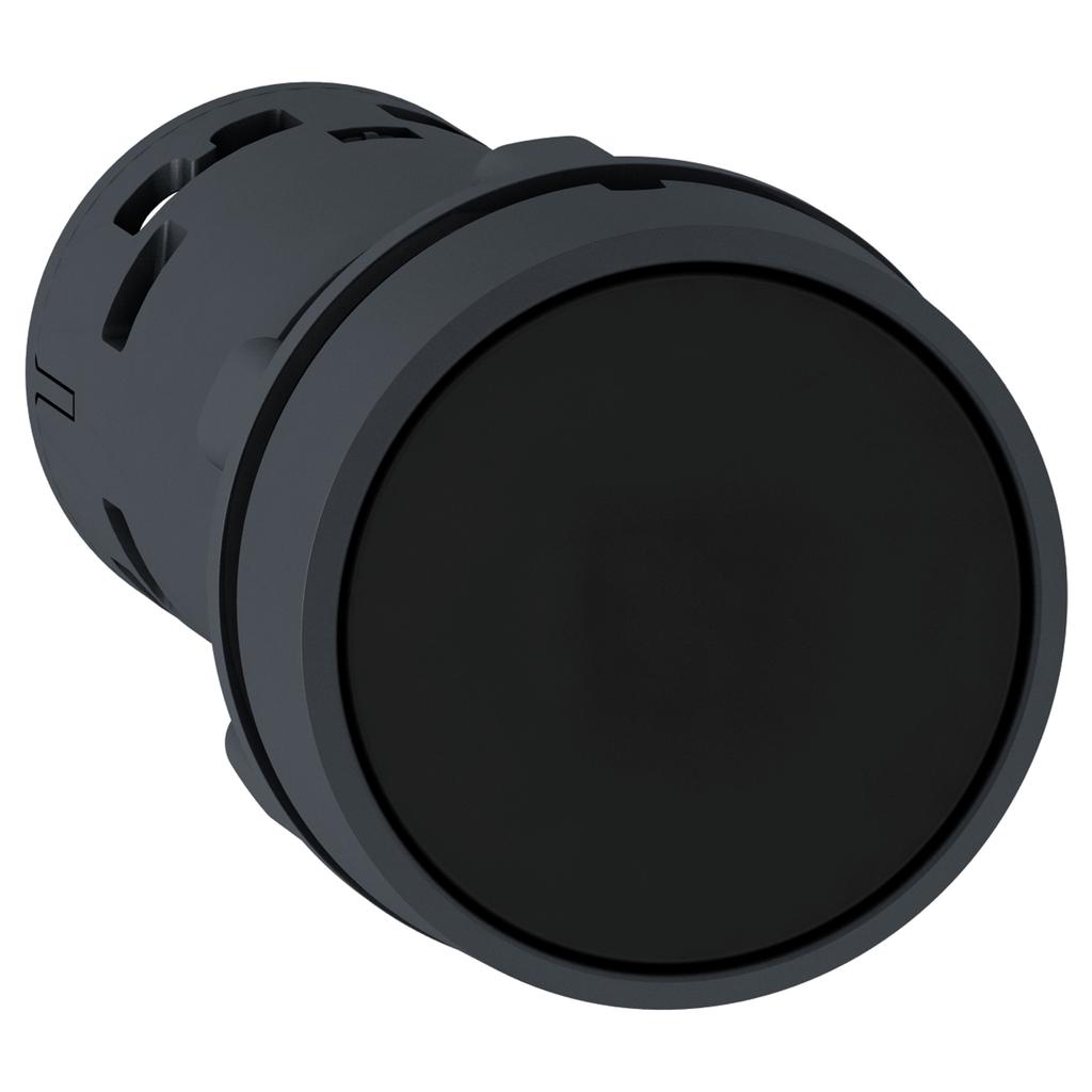 Mayer-Harmony XB7, Monolithic push button, plastic, black, Ø22, spring return, unmarked, 1 NO-1