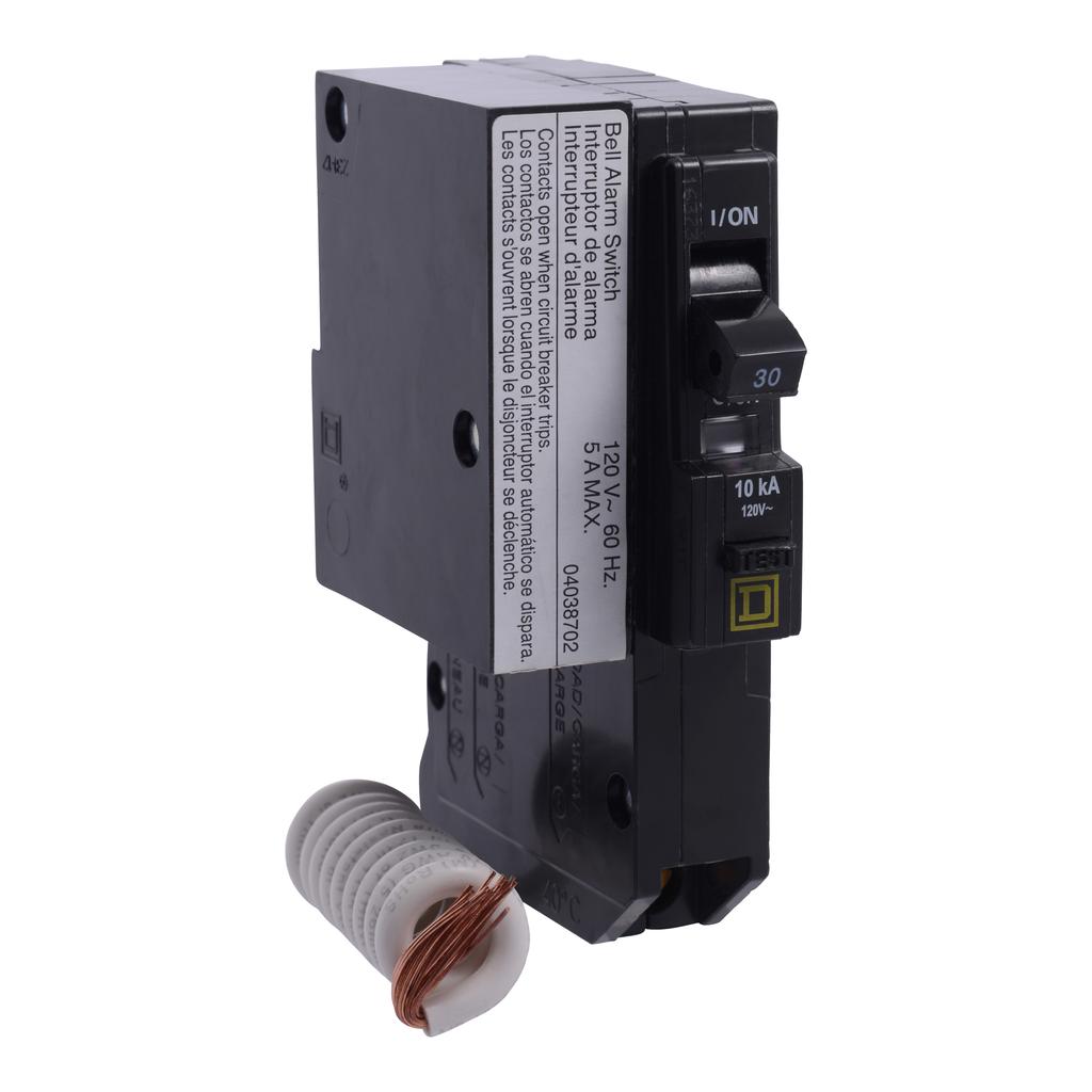 Mayer-Mini circuit breaker, QO, 30A, 1 pole, 120 VAC, 10 kA, 30mA grd fault B, plug in mount, alarm switch-1
