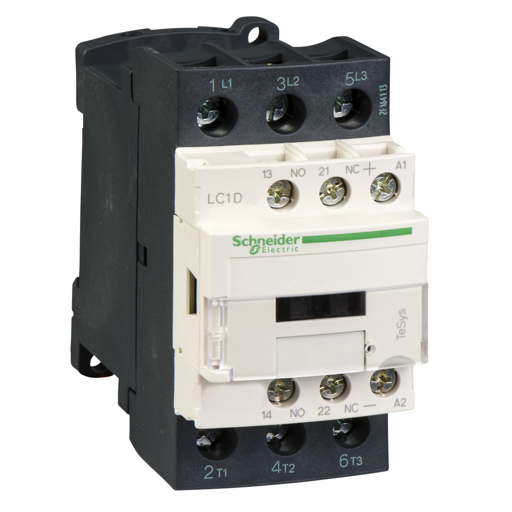 Mayer-IEC contactor, TeSys D, nonreversing, 32A, 20HP at 480VAC, up to 100kA SCCR, 3 phase, 3 NO, low consumption 12VDC coil-1