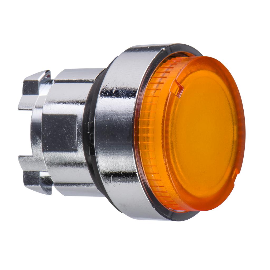 Mayer-Harmony XB4, Illuminated push button head, metal, projecting, orange, Ø22, spring return, plain lens integral LED-1
