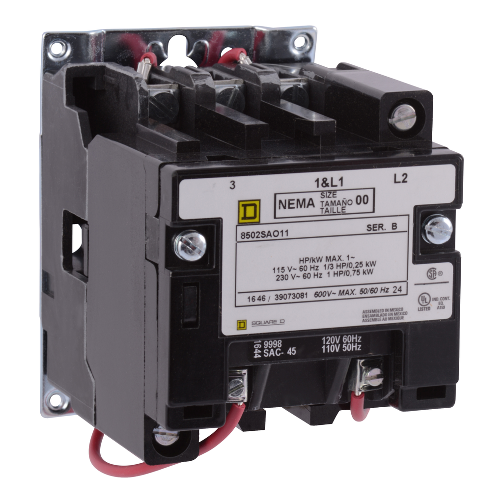 Mayer-NEMA Contactor, Type S, nonreversing, Size 00, 9A, 1 HP at 230 VAC, 1 phase, up to 100 kA, 2 pole, 240 VAC coil, open-1