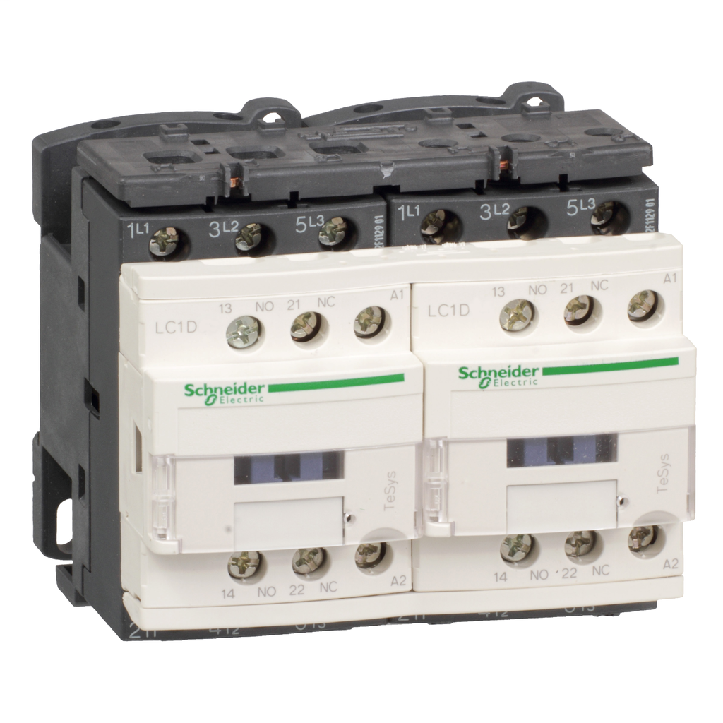 Mayer-IEC contactor, TeSys D reversing, 12A, 7.5HP at 480VAC, 3 phase, 3 pole, 3 NO, 120VAC 50/60Hz coil, open style-1
