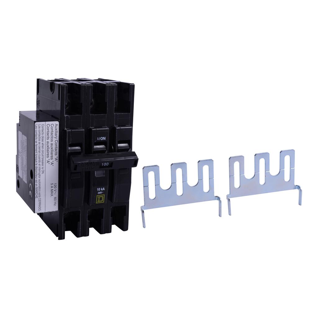 Mayer-Mini circuit breaker, QOU, 90A, 3 pole, 240 VAC, 10kA, auxiliary switch-1