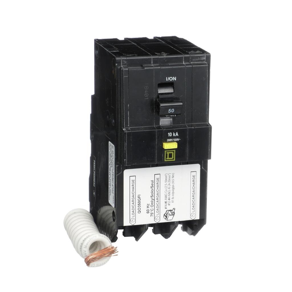 Mayer-Mini circuit breaker, QO, 50A, 3 pole, 208Y/120 VAC, 10 kA, 6mA grd fault A, pigtail, plug in mount-1