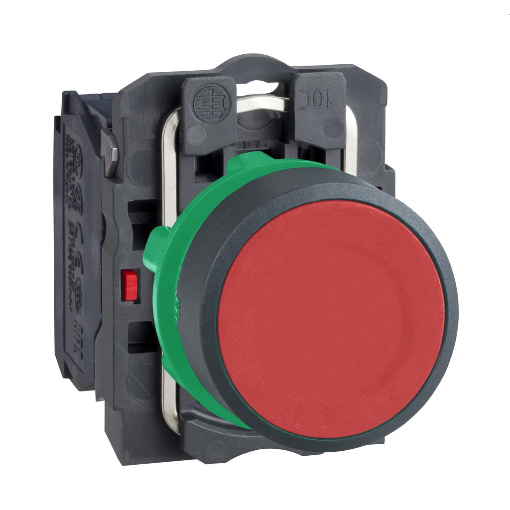 Mayer-Harmony XB5, Push button, plastic, flush, red, Ø22, spring return, unmarked, 1 NO-1