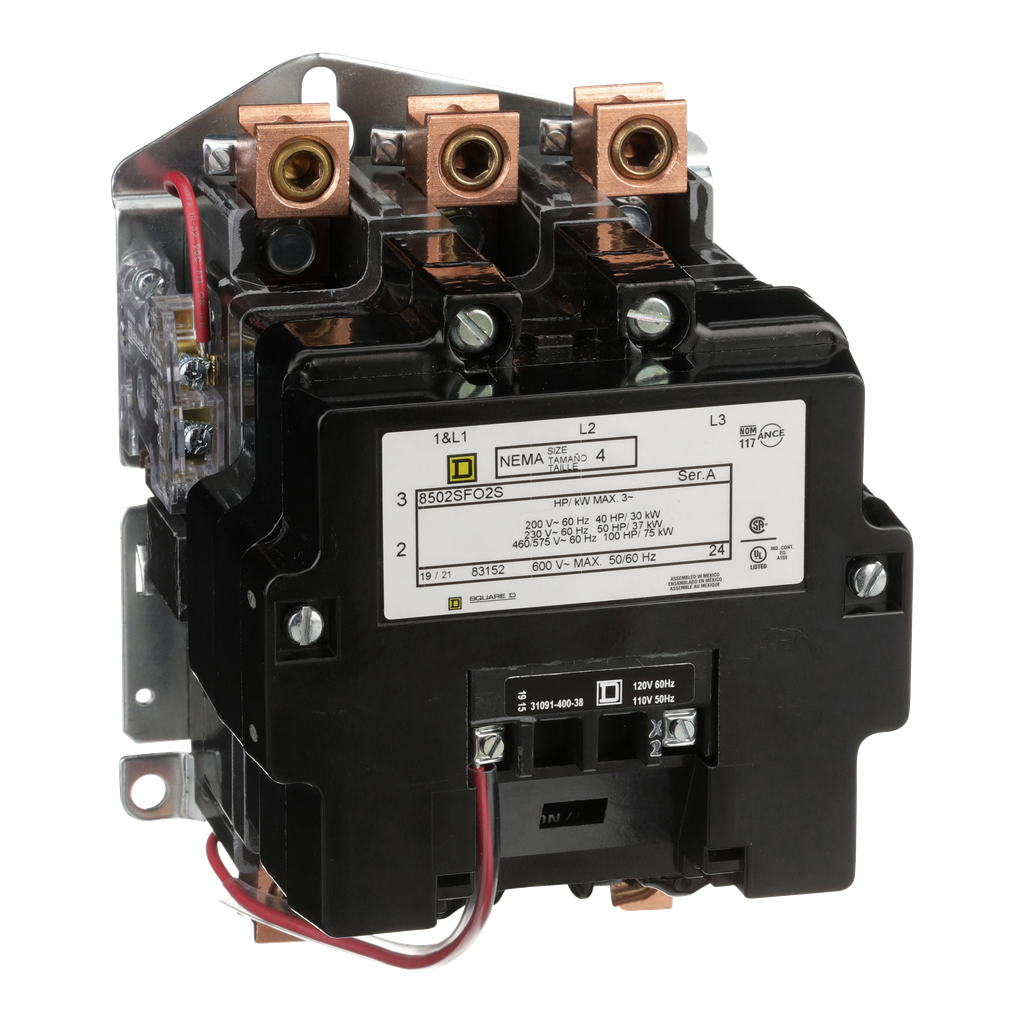 Mayer-NEMA Contactor, Type S, nonreversing, Size 4, 135A, 100 HP at 575 VAC, 3 phase, up to 100 kA, 3 pole, 120 VAC coil, open-1