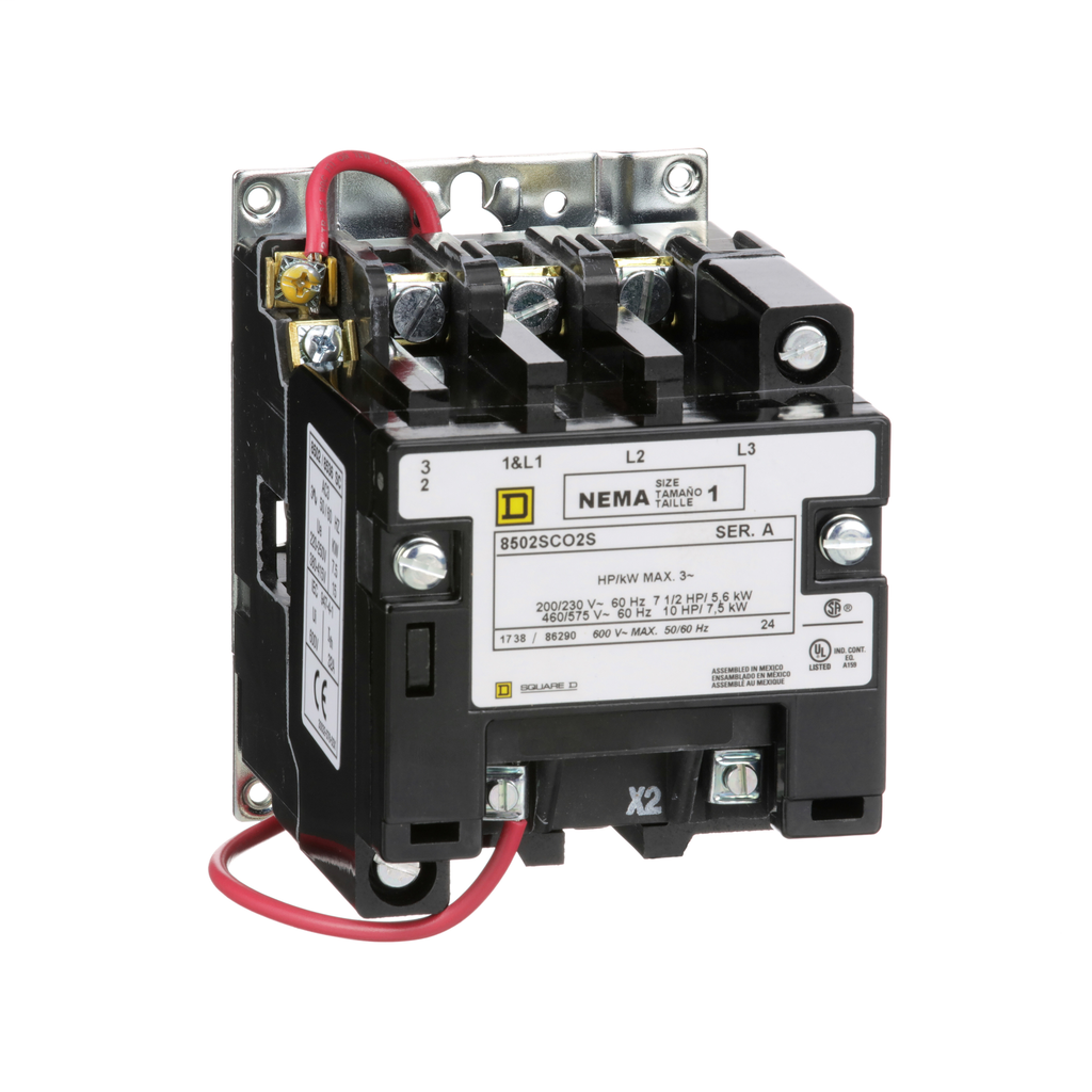 Mayer-NEMA Contactor, Type S, nonreversing, Size 1, 27A, 10 HP at 575 VAC, 3 phase, up to 100 kA, 3 pole, 240 VAC coil, open-1
