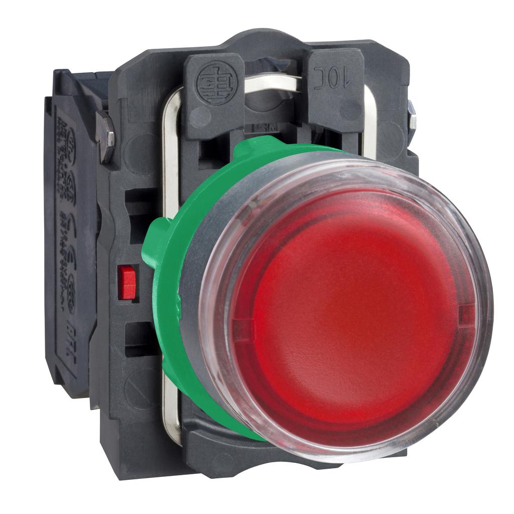 Mayer-Harmony XB5, Illuminated push button, plastic, flush, red, Ø22, spring return, 24 V AC/DC, 1 NO + 1 NC-1